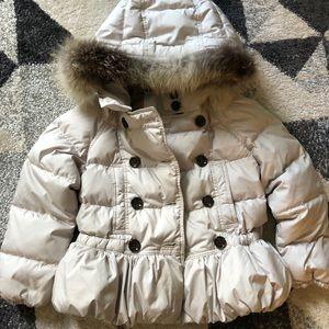 White goose down Burberry jacket.